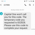 Sample of Capital One temporary passcode